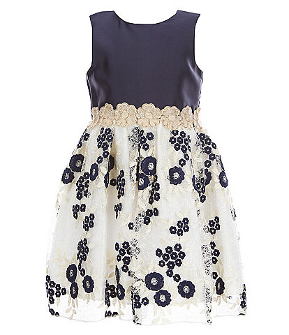 Laura Ashley Little Girls 2T-6X Sleeveless Embroidered Lace Dress