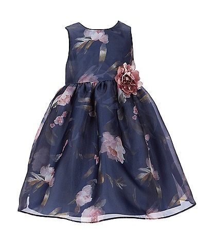 Laura Ashley Little Girls 2T-6X Sleeveless Floral A-Line Dress