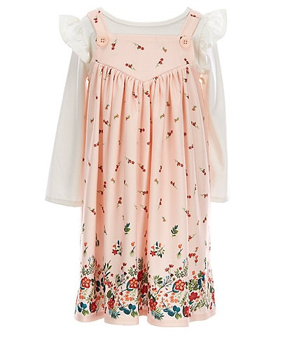 Laura Ashley Little Girls 2T-6X Sleeveless Floral-Border-Print Jumper Dress & Long-Sleeve Tee Set