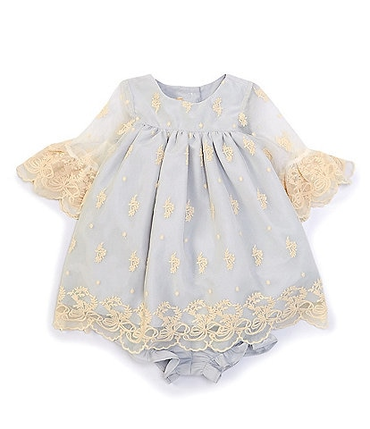Laura Ashley Baby Girls Newborn-24 Months Bell-Sleeve Embroidered-Mesh Dress