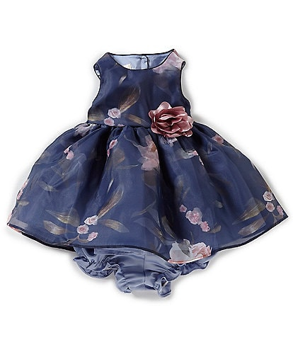 03b784af79fc0 Laura Ashley Baby Girls Newborn-9 Months Floral Print Sleeveless Dress
