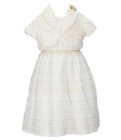 Laura Ashley Little Girls 2T-6X Faux-Fur Cropped Cardigan & Lace A-Line Dress
