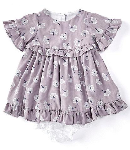 Laura Ashley Newborn-24 Months Short-Sleeve Dandelion Print Ruffled Knit Babydoll Dress