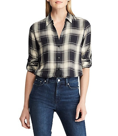 Lauren by Ralph Lauren Petite Size Plaid Twill Button-Down Shirt