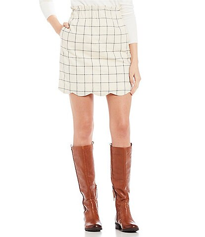 Lauren James Paperbag Check Plaid Scallop Skirt