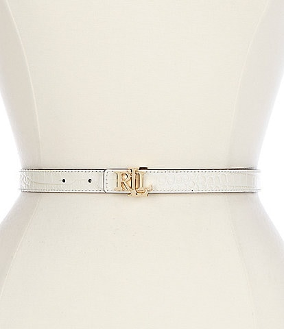 Lauren Ralph Lauren 1#double; Reversible Signature Logo Buckle Leather Belt