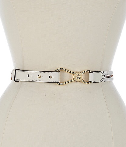 Lauren Ralph Lauren 2#double; Nautical Clip Braided Leather Belt