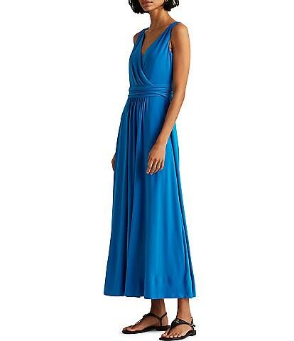 Lauren Ralph Lauren V-Neck Sleeveless Jersey Maxi Dress