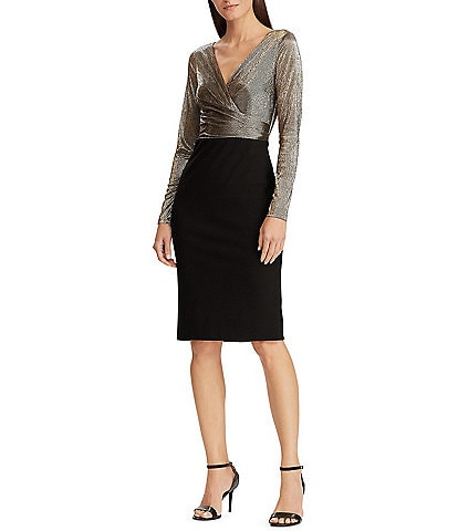 Lauren Ralph Lauren Metallic Long Sleeve Jersey Sheath Dress