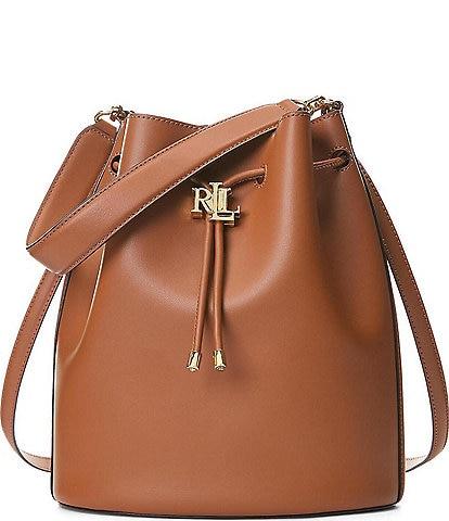 Lauren Ralph Lauren Andie Leather Drawstring Large Shoulder Bag