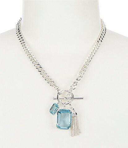 Lauren Ralph Lauren Aqua Toggle Charm Pendant Necklace