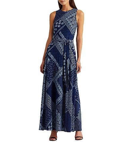 Lauren Ralph Lauren Bandana Motif Crew Neck Sleeveless Jersey Knit Maxi Dress
