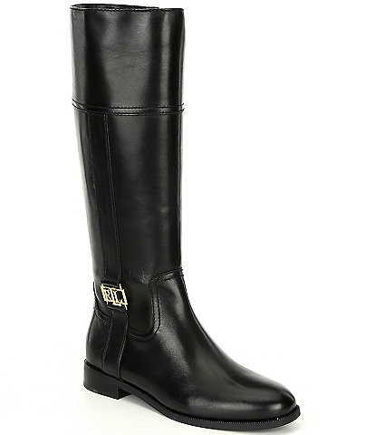 Lauren Ralph Lauren Berdie Tall Leather Block Heel Boots