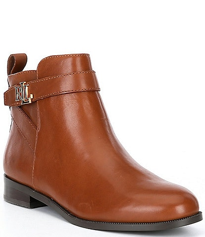 Lauren Ralph Lauren Bonne Leather Block Heel Ankle Booties