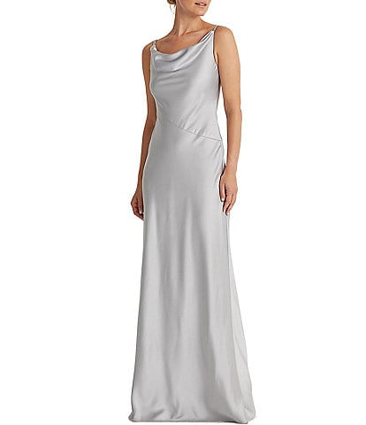 Lauren Ralph Lauren Bonnie Satin Drape Neck Sleeveless A-Line Gown