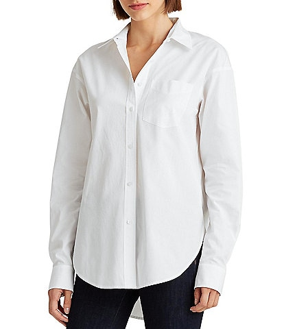 Lauren Ralph Lauren Broadcloth Button Front Long Sleeve Cotton Hi-Low Shirttail Boyfriend Shirt