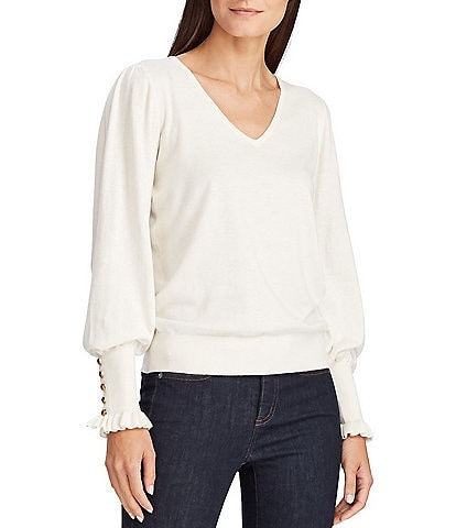 Lauren Ralph Lauren Buttoned Ruffle Cuff Long Sleeve Cotton Blend Sweater