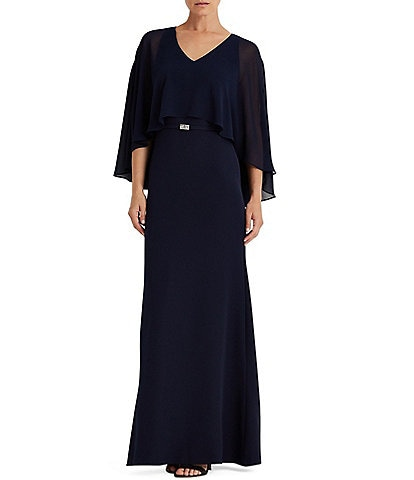 Lauren Ralph Lauren Catarina V-Neck Belted Chiffon Pop Over Crepe Gown