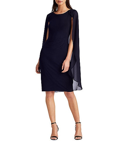 Lauren Ralph Lauren Chiffon Cape Jersey Sheath Dress