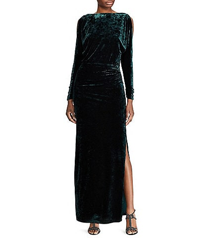 Lauren Ralph Lauren Cold Shoulder Velvet Gown