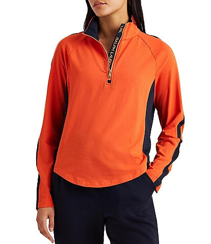 Lauren Ralph Lauren Color-Blocked Mock Neck Cotton-Blend Pullover