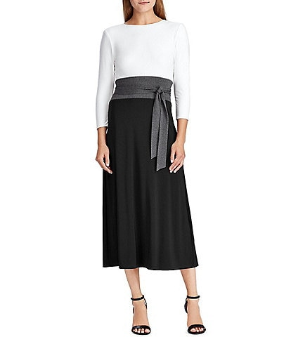 Lauren Ralph Lauren Colorblock Matte Jersey Midi Dress