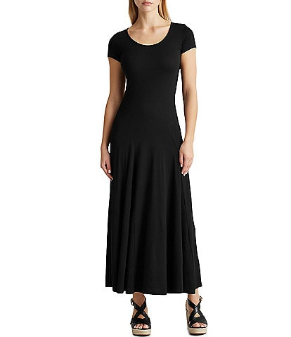 Lauren Ralph Lauren Cotton Blend Cap Sleeve Scoop Neck Drop Waist Maxi Dress