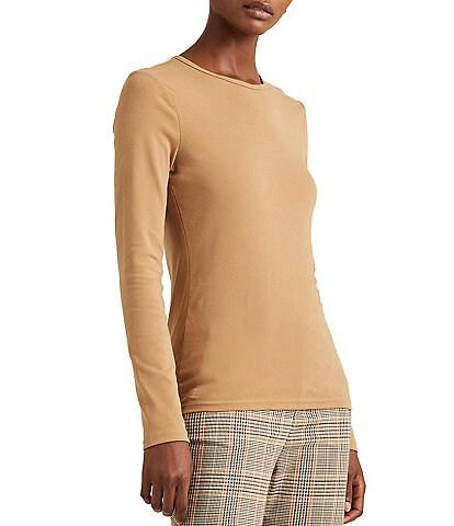 Lauren Ralph Lauren Cotton-Blend Crew Neck Long Sleeve Top