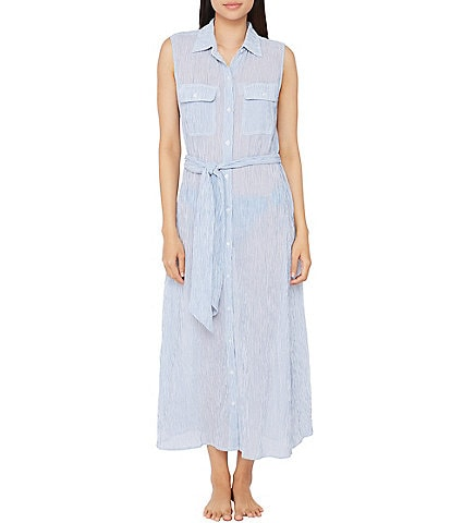 Lauren Ralph Lauren Cotton Crepe Mini Stripe Maxi Swim Cover Up Shirt Dress