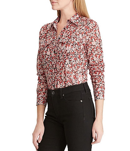 Lauren Ralph Lauren Cotton Voile Floral Print Button Front Shirt