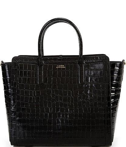 Lauren Ralph Lauren Crocodile Embossed Medium Tyler Tote Bag