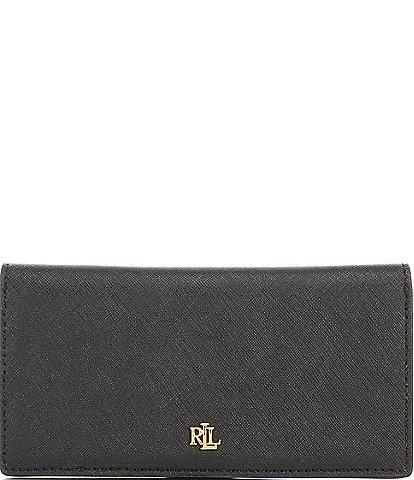 Lauren Ralph Lauren Crosshatch Leather Slim Snap Wallet