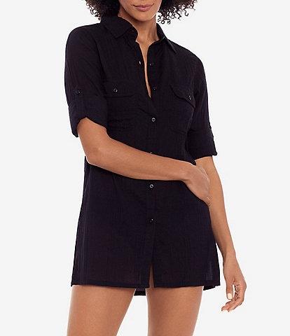 Lauren Ralph Lauren Crushed Cotton Short Sleeve Swim Cover Up Camp Shirt