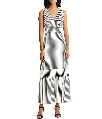 Lauren Ralph Lauren Danika Striped Ruffle Hem Crepe Maxi Dress