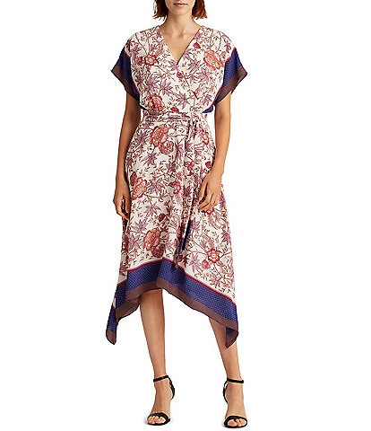 Lauren Ralph Lauren Darrinda Floral Print Drop Shoulder Sharkbite Hem Crepe Midi Dress