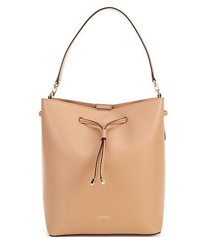 Lauren Ralph Lauren Debby Leather Drawstring Snap Hobo Bag