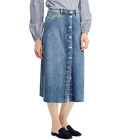Lauren Ralph Lauren Denim Midi Skirt