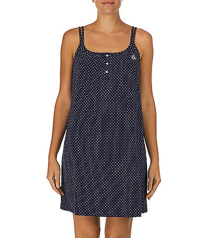 Lauren Ralph Lauren Dot Printed Double Strap Knit Short Gown