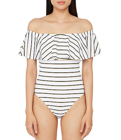 Lauren Ralph Lauren Dylan Lurex Ruffle Off The Shoulder Metallic Stripe One Piece