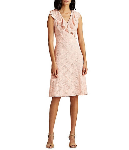 Lauren Ralph Lauren Ruffle Surplice V-Neck Sleeveless Lace Sheath Dress