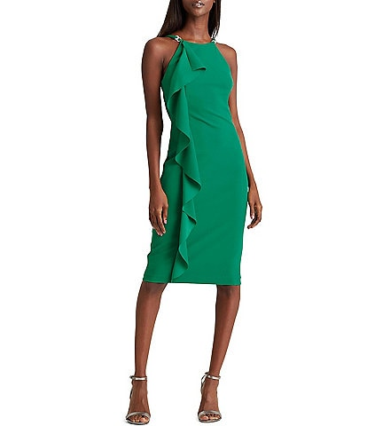 Lauren Ralph Lauren Fernanda Ruffle Front Sleeveless Jersey Sheath Dress