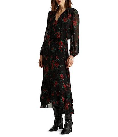 Lauren Ralph Lauren Floral Georgette Blouson V-Neck High-Low Long Sleeve Maxi Dress