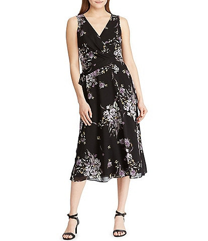 Lauren Ralph Lauren Floral Print Georgette Ruched Detail Midi Dress
