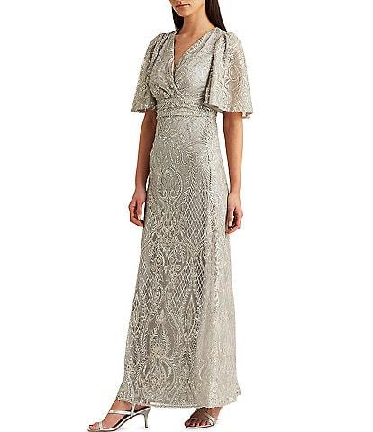Lauren Ralph Lauren Flutter Sleeve Sequin Embroidered Mesh Gown