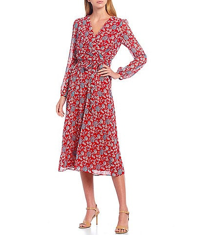 Lauren Ralph Lauren Frannie Floral Chiffon Long Sleeve Faux Wrap Midi Dress