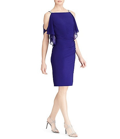 Lauren Ralph Lauren Georgette-Panel Jersey Dress