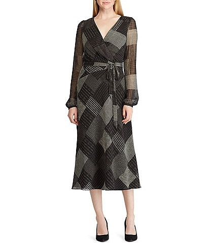 Lauren Ralph Lauren Georgette Plaid Printed Midi Dress