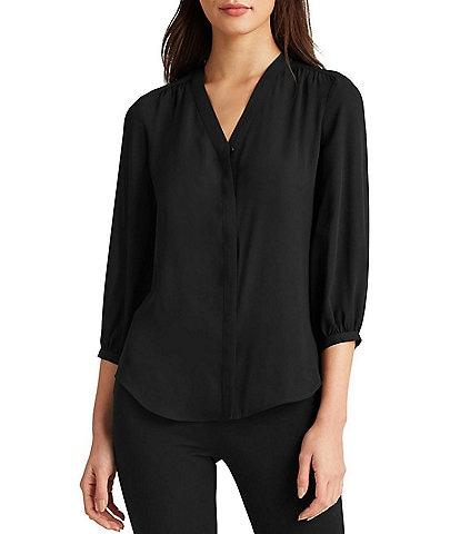 Lauren Ralph Lauren Georgette Shirred 3/4 Sleeve V-Neck Button Front Top