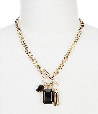 Lauren Ralph Lauren Gold Jet Toggle Charm Pendant Necklace