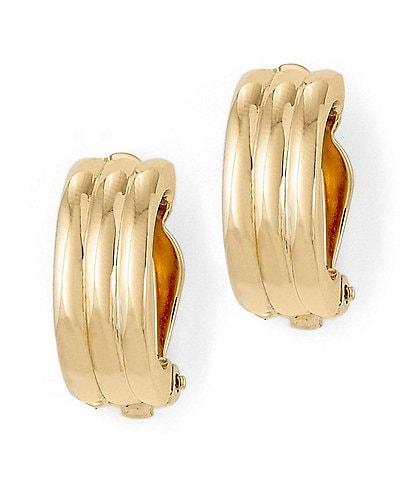 Lauren Ralph Lauren Gold Rib Hoop Clip-On Earrings